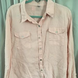 CHICO'S Lino by Chico's Linen Top Size 2 (L/12)